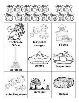 Autumn BINGO in French
