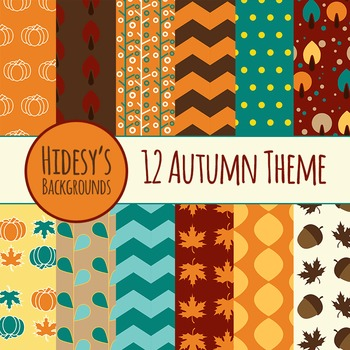 Autumn Backgrounds : Fall Digital Papers / Patterns for Commercial Use