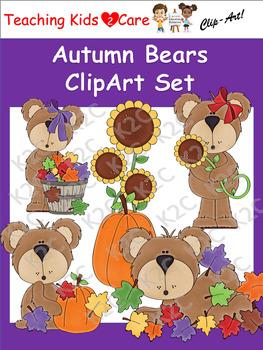 Autumn Bears ClipArt Set