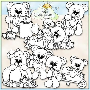 Autumn Bears Clip Art - Fall Teddy Bears Clip Art - CU Clip Art & B&W