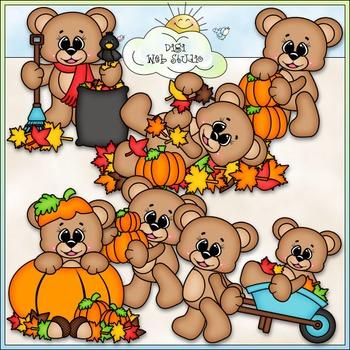 Autumn Bears Clip Art - Fall Teddy Bears Clip Art - CU Cli