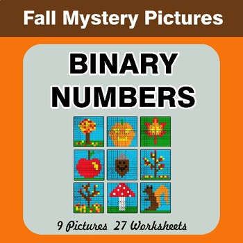 Autumn: Binary Numbers - Mystery Pictures / Color By Number
