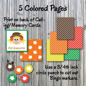 Autumn Bingo Cards and Memory Game-Printable-Up to 30 players-Thanksgiving Bingo