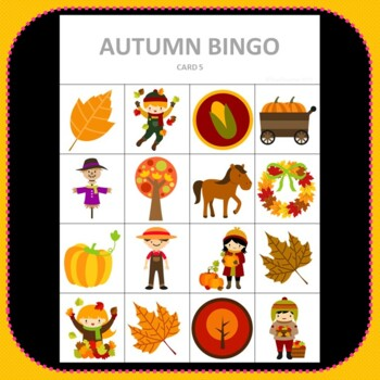 Autumn Bingo - Cute Autumn Themed Bingo Game Pumpkins Leaves Preschool K-2 kids