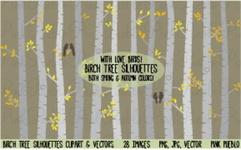 Autumn Birch Tree Silhouettes Clipart Clip Art - Commercial and Personal Use