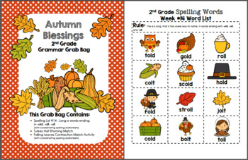 Autumn Blessings 2nd Grade Grammar Grab Bag #14