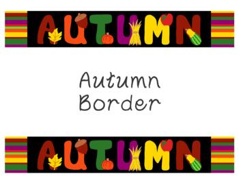 Autumn Bulletin Board Border Printable PDF Autumn Fall Leaf Gourd Apple Acorn