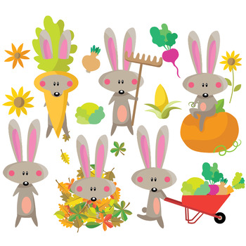 Autumn Bunny - Clipart Set