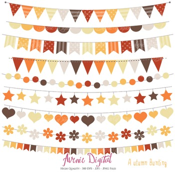 Autumn Bunting Banner Clipart Scrapbook Vector fall colors Clip art Thanksgiving