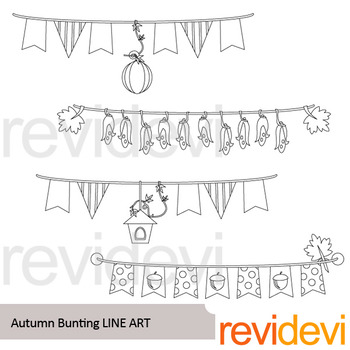 Autumn Bunting Banners line art - clipart blackline