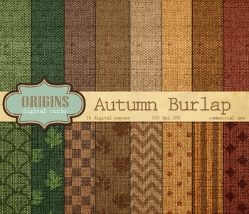 Autumn Burlap Digital Paper Textures and Backgrounds