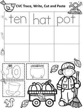 Autumn CVC Words Cut and Paste Worksheets