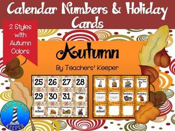 Autumn Calendar Cards (Fall Colors)