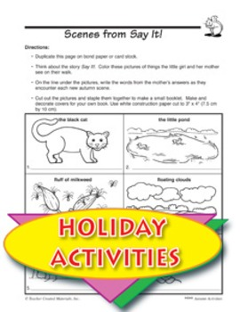 Autumn Celebrations Literature Unit and Other Themed Activities
