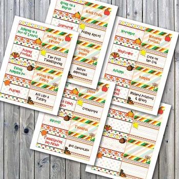 Autumn Charades Printable PDF - Thanksgiving Party Game Printable