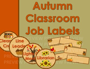Autumn Classroom Job Signs