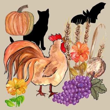 Realistic Clip Art - Autumn - Fall Leaves - Pumpkin - Owl - Apples - Bat