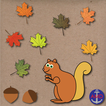Autumn Clip Art- Scarecrow, Leaves, Pumpkins, Squirrel, Acorns, Halloween