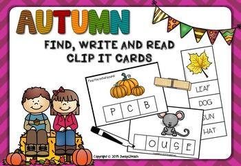 Autumn Clip cards - Find, write & read
