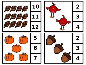 Autumn Clip or Cover Counting Cards