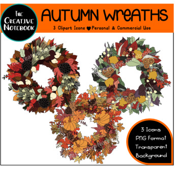 Autumn Clipart | Autumn Wreaths | Fall Clip Art {Personal or Commercial Use}