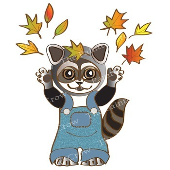 Free Autumn Clipart Set - 8 Piece Fall Leaves Fun Pack Featuring Raccoon Kids