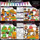 Autumn Clip Art & B&W Bundle (4 Sets)