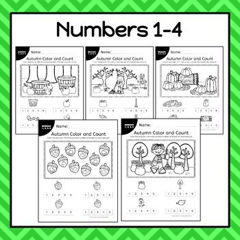 Autumn Color and Count Worksheets