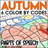 Autumn Coloring Pages Parts of Speech Color by Number