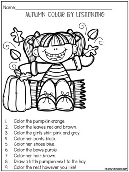 Autumn Color by Listening (A Following Directions Activity ...