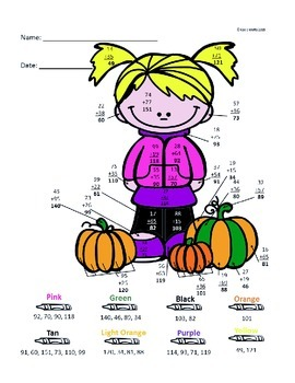 Autumn Color by Number-- Double Digit Addition and Subtraction