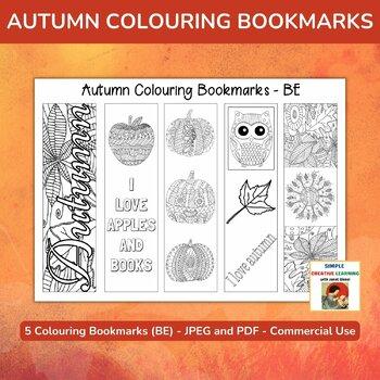 Autumn Colouring Bookmarks (British English) - Set of 5
