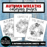 Autumn Coloring Pages | Wreaths for Autumn, Thanksgiving | Adult Coloring Pages