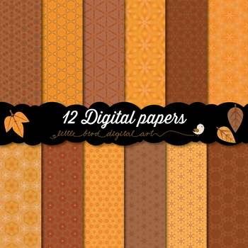 Autumn Colors - 12 Digital Papers in Orange and Brown