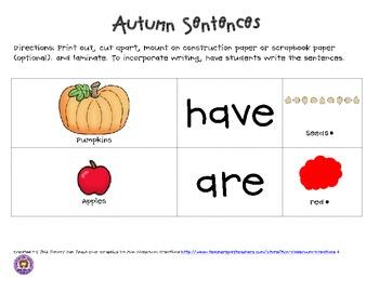 Autumn Common Core Sentences