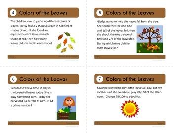 Fall Task Cards - Fourth Grade Common Core Math