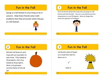 Fall Task Cards - Sixth Grade Common Core Math