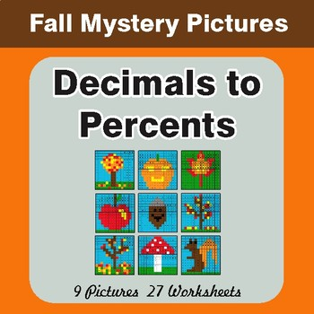 Autumn: Converting Decimals to Percents - Color-By-Number Math Mystery Pictures