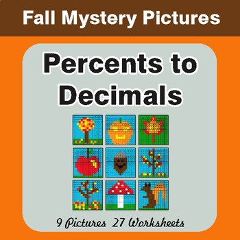 Autumn: Converting Percents to Decimals - Color-By-Number Mystery Pictures