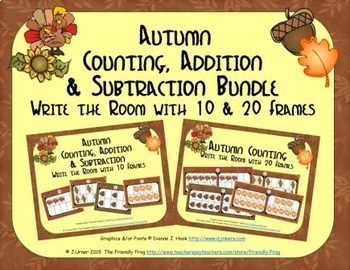 Autumn Count, Add & Subtract Bundle with 10 & 20 Frames {Subitizing}