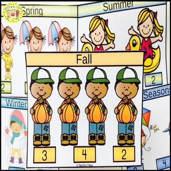 Fall Count and Clip Seasons Task Cards