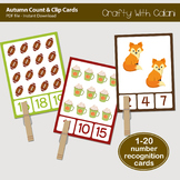 Autumn Count and Clip Cards - numbers 1 - 20