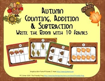 Autumn Counting, Addition & Subtraction with Ten Frames {S