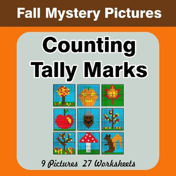 Autumn: Counting Tally Marks - Math Mystery Pictures / Color By Number
