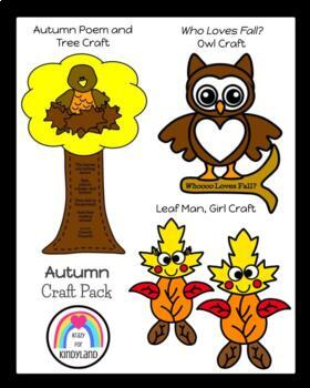 Autumn Craft Pack: Owl, Tree/Crow, Christopher Columbus, Fire Dog, Leaf Man