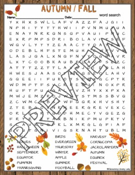 Autumn Fall Activities Crossword Puzzle and Word Search Find