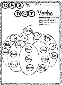 Autumn Dab 'n Dot - Irregular Verbs