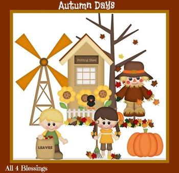 Autumn Days Digital Clipart CLIP ART Cu Ok ~ Fall Sunflowers Pumpkins Seasonal