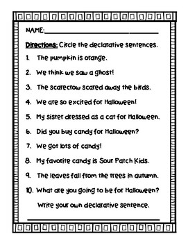 Autumn Declarative Sentences