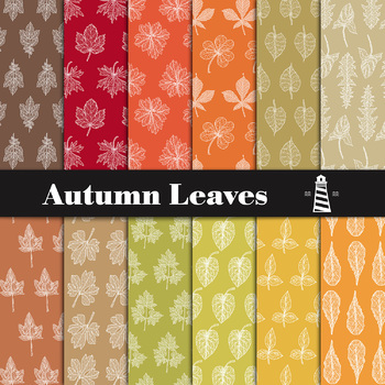 autumn digital paper fall leaves pattern fall digital paper tpt